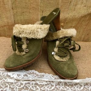 Olive Green fuzzy Clog Heels